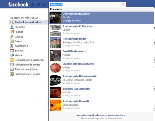 Anuncios en el buscador de Facebook