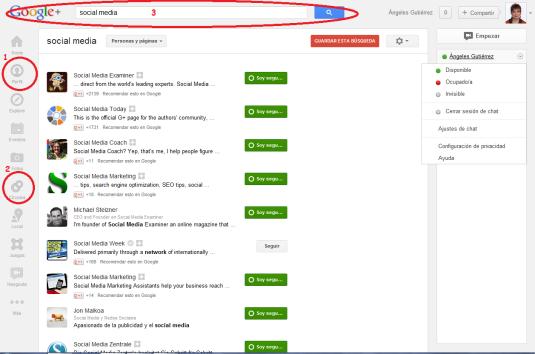 Perfil, Circulos y Buscador de Google +