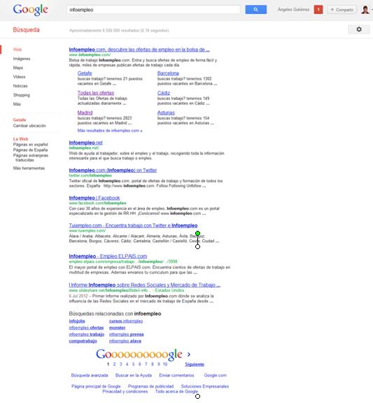 Google muestra 7 resultados en lugar de 10