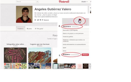 Bloquear y denunciar usuarios en Pinterest