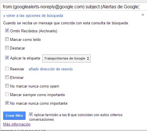 Crear filtro en Gmail