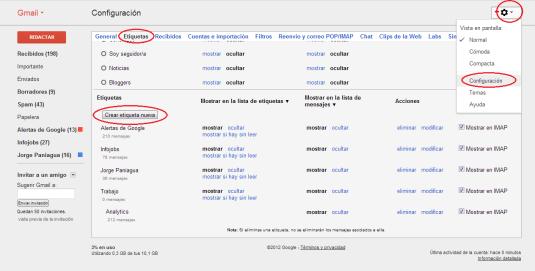 Crear etiquetas (carpetas) en Gmail