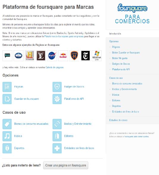 Crear Página de empresa en Foursquare