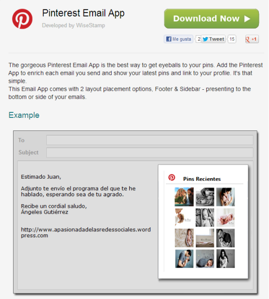 Email Pinterest aplicación herramienta