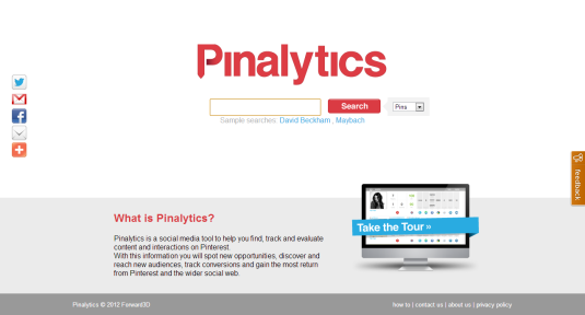 Estadísticas en Pinterest: Pinalytics
