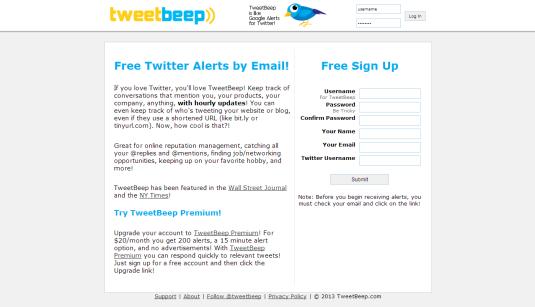 Aplicación Twitter Google Alerts