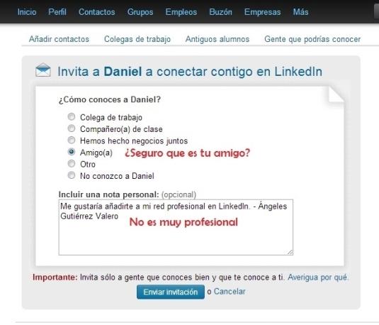Mensaje poco profesional LinkedIn