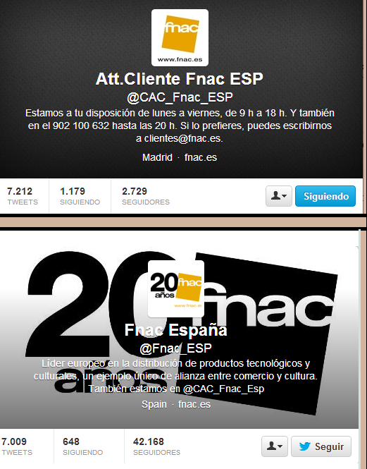 Canales Twitter Fnac